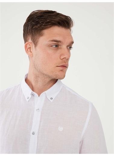 MCL MCL Keten Slim Fit Gömlek Beyaz